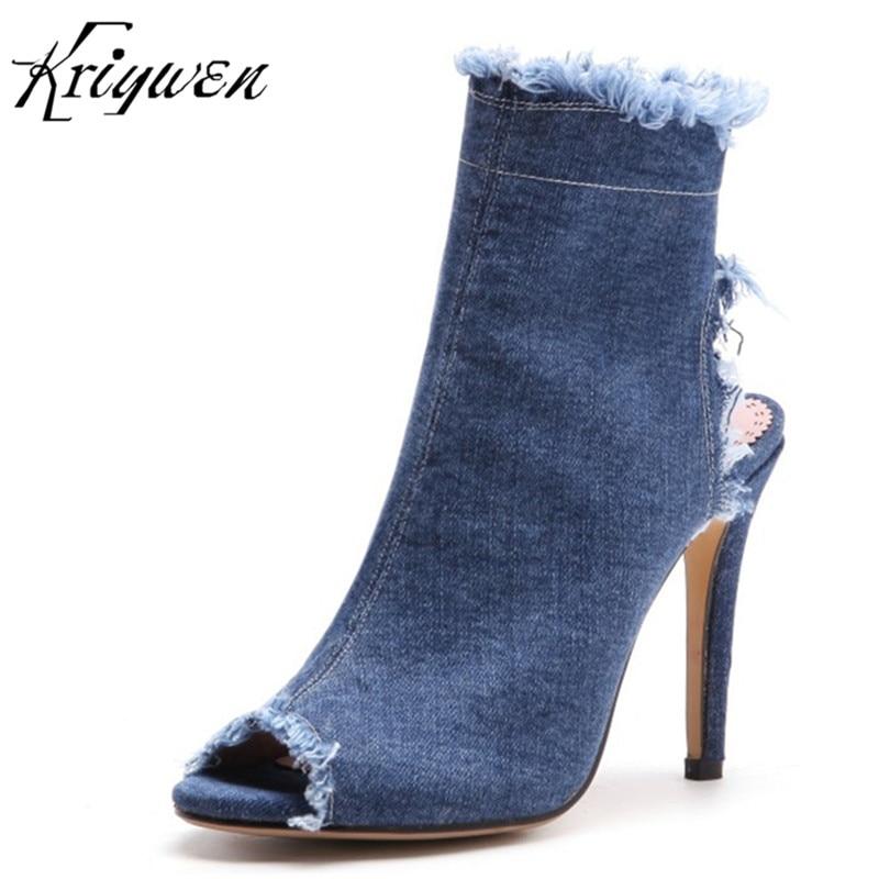 Para Toe Zapatos Estilo Bombas Peep qIvB5nAw Moda Tacones Denim Boda Partido Vestido Gladiador Calzado Extrema Mujer Zipper Stilettos Azul Altos fwwBq78d