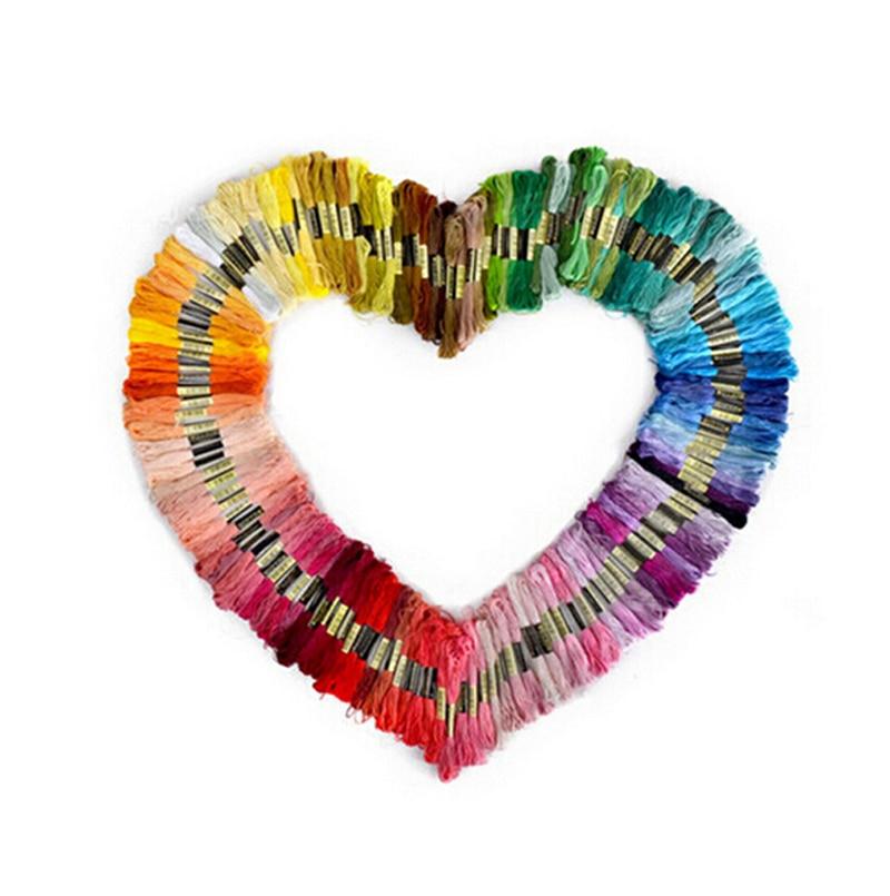 New 50 Pcs Random Color Embroidery DIY Silk Line Branch Threads Similar Dmc Thread Floss Skein Cross Stitch Thread