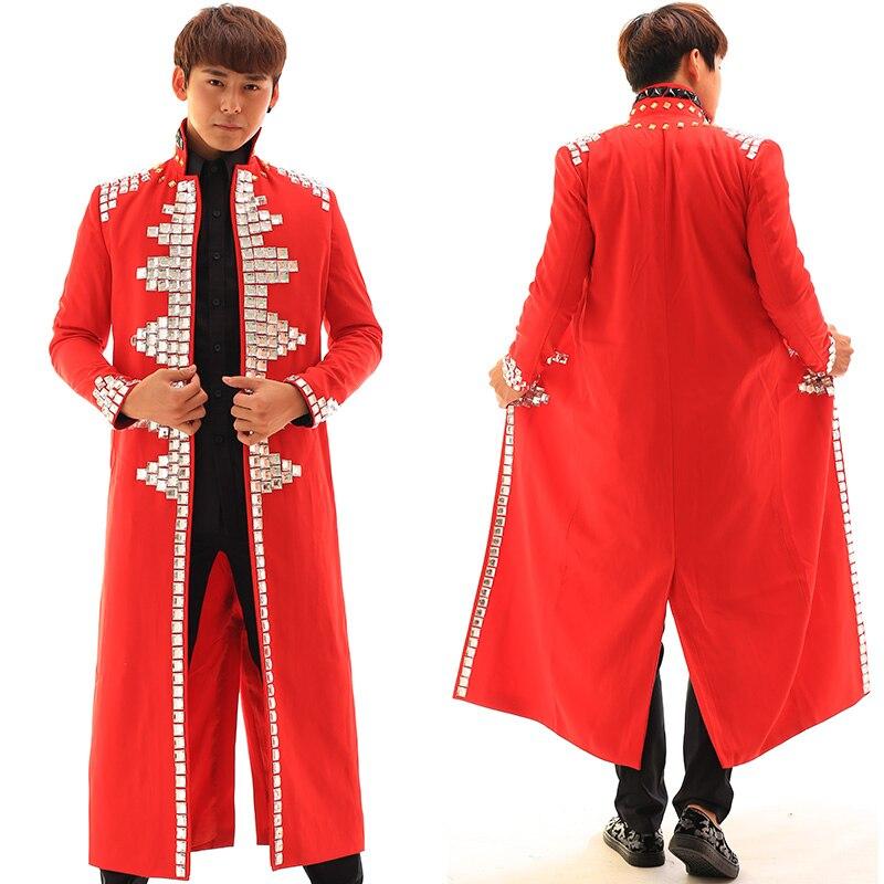 Hommes De Mode Hommes de Strass Rouge Veste Mâle Dj Chanteur Blazer Manteau  Homme Jazz Hip-Hop Vêtements de Performance de Scène Costumes Outwear c489948ff72