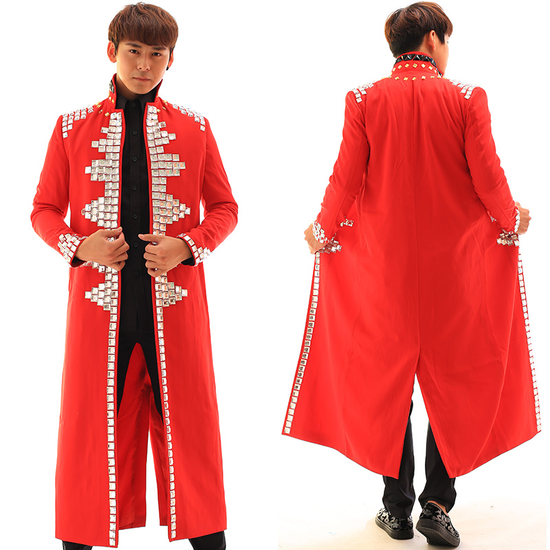 Men Fashion Men's Rhinestones Red Jacket Male Dj Singer