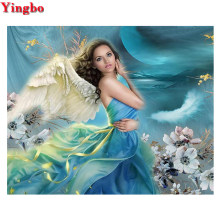 Full Square Round Drill 5D DIY Diamond Painting angel fairy flower Embroidery with diamond Cross Stitch Rhinestones Home Decor(China)
