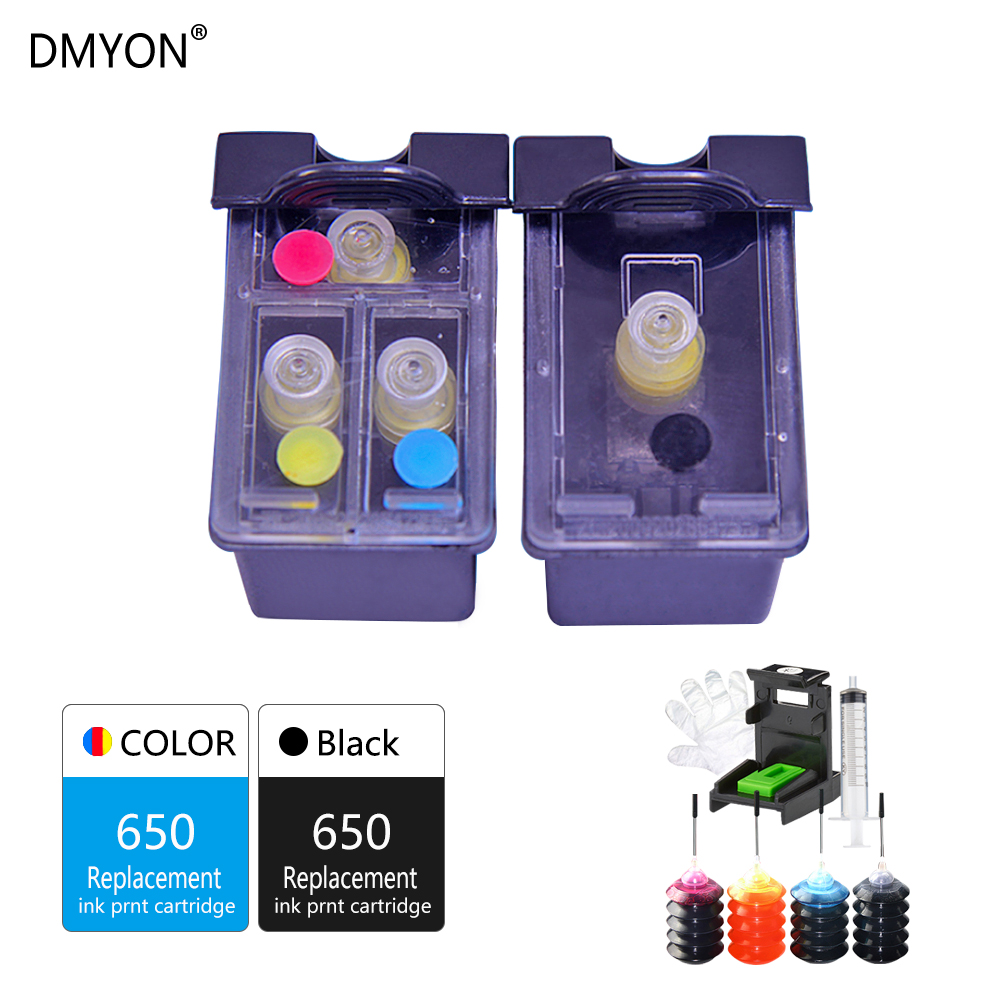 DMYON Refillable Ink Cartridge Replacement for HP 650 650XL Ink Cartridge for 1015 1515 2515 2545