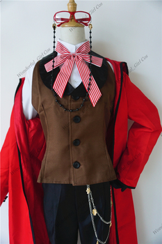 Anime Black Butler Death Shinigami Grell Sutcliff Cosplay Red Uniform Outfit+Glasses Carnaval Halloween Costumes for Women Men 2