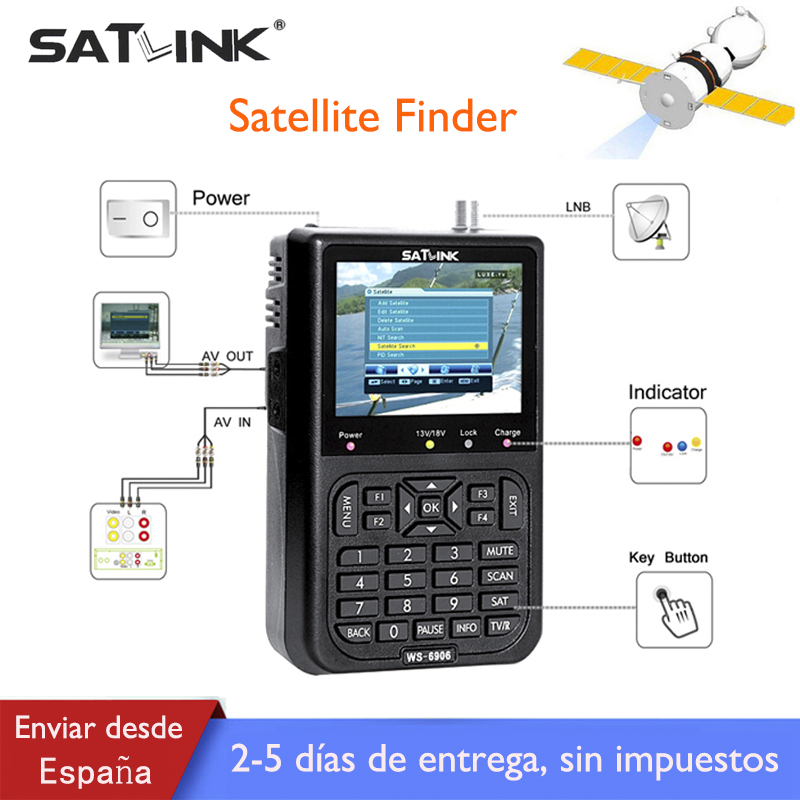 Satlink DVB-S Satellite Finder lnb DVB S Digital Satellite Finder Meter 3.5 inch LCD Display Spain Satlink FTA Satelite Finder original dvb t satlink ws 6990 terrestrial finder 1 route dvb t modulator av hdmi ws 6990 satlink 6990 digital meter finder