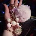 2016 femme Crystal Ball Tassel Keychain pearl Pompom llavero Pom pom Rex rabbit Fur Ball Key Chain Key Ring Bag Pendant Chaveiro