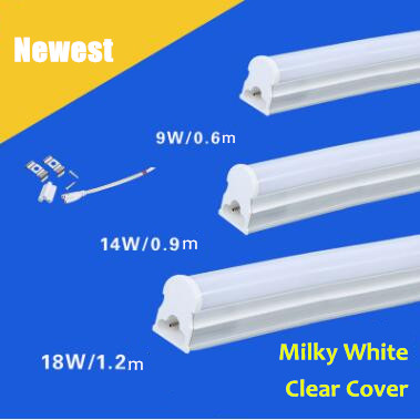 T5 Led Tube Light 300mm 600mm 1200mm Integrated 0 3m 6W 0 6m 9W Brightness Tube Lamp T5 Fluorescent light Tubes 12V 85 265V in LED Bulbs & Tubes from - fluorescent light bulb covers