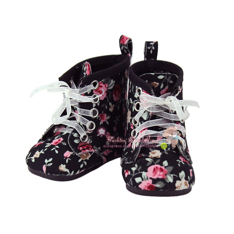 Doll accessories ,Black flower shoes fit 43cm Baby Born zapf,  Children best  Birthday Gift