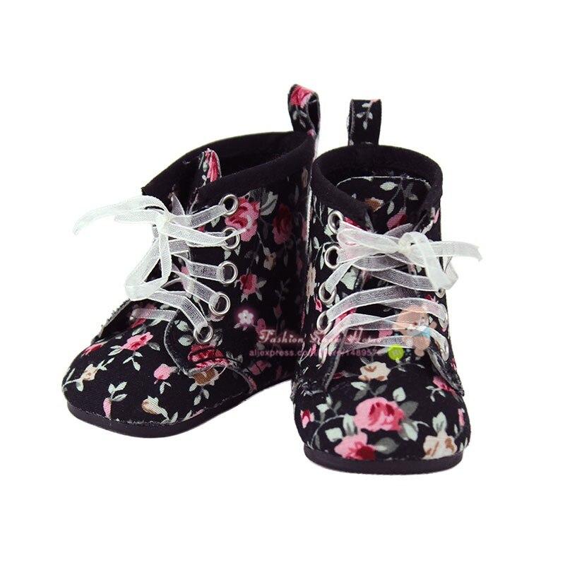 Doll accessories ,Black flower shoes fit 43cm Baby Born zapf, Children best Birthday Gift