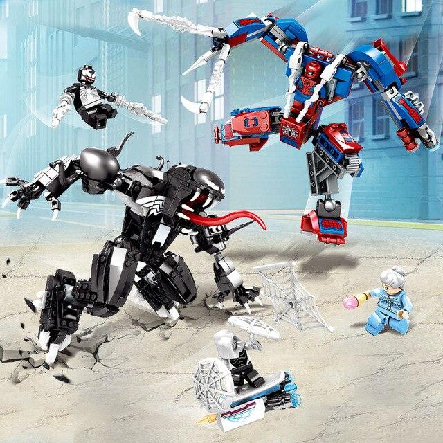 671 Pcs Marvel Avengers Super Heroes Spiderman Venom Spider Man Vs Mech Building Blocks Toy Tijolo Compatível Com Legoings