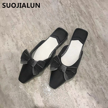 Bow Slippers Women Flat Mules Shoes women Pointed Toe Slip-on Slides Female Spring&Summer Sandals Flat Slides Zapatos De Mujer sungtin vintage floral embroidery slippers women mules shoes sexy crystal pointed toe slides spring summer velvet slippers