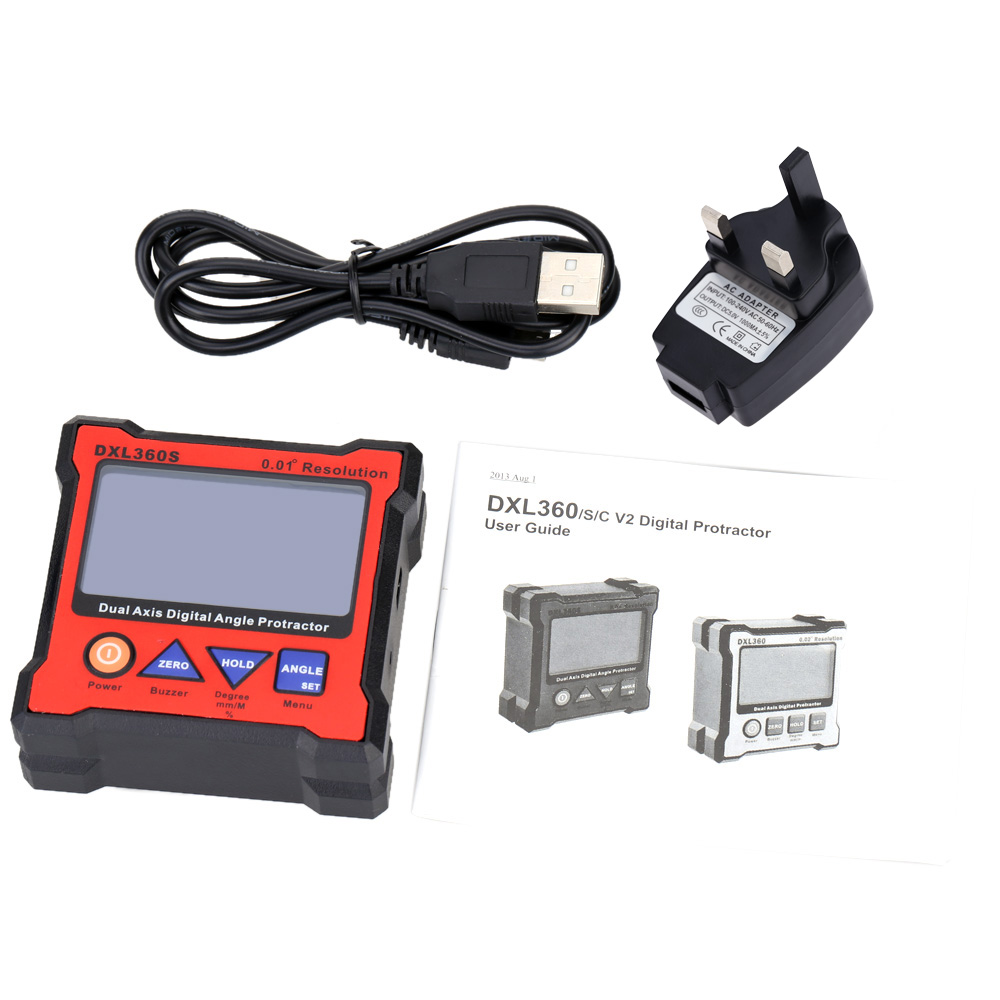 DXL360S Dual Axis Angle Protractor dumpy level High precision Dual-axis Level Gauge diagnostic tool with 5 Side Magnetic Base