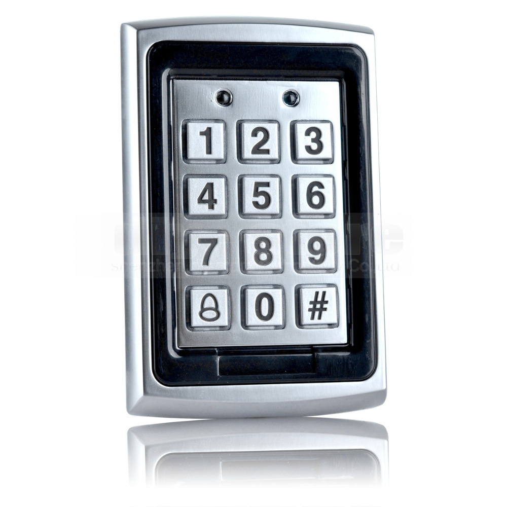 Diysecur 125khz rfid id card reader metal keypad with door for Door entry fobs