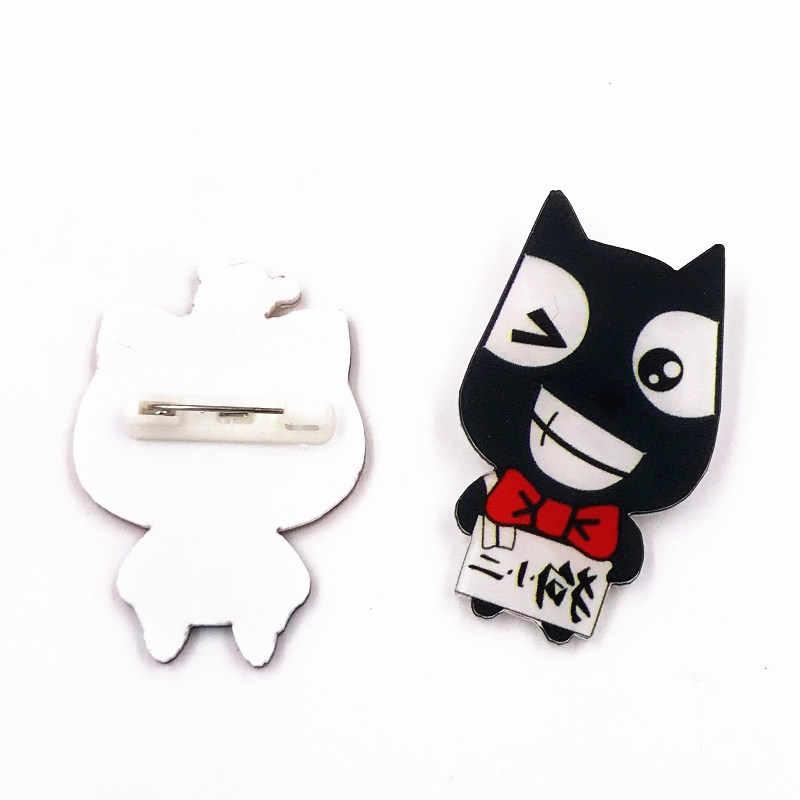 1 piezas de dibujos animados gato peces perro encantador Harajuku pintura animales insignia para ropa acrílico insignias iconos en la mochila Pin broches regalo