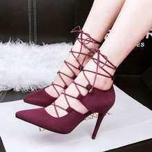 Free shipping 2016 spring new fashion cross straps pointed toe Roman pumps women sexy thin heels shoes