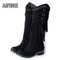 Jady Rose Black Suede Women Knee High Boots Full Fringed High Boots Female Platform Flat Botas