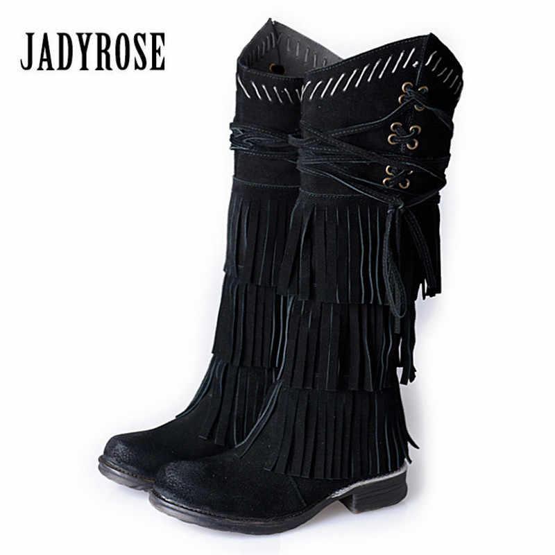Jady Gül Siyah Süet Kadın Diz Yüksek Çizmeler Tam Saçaklı Yüksek Çizmeler Kadın Platformu Düz Botas Püsküller Kış Uzun Sürme çizme