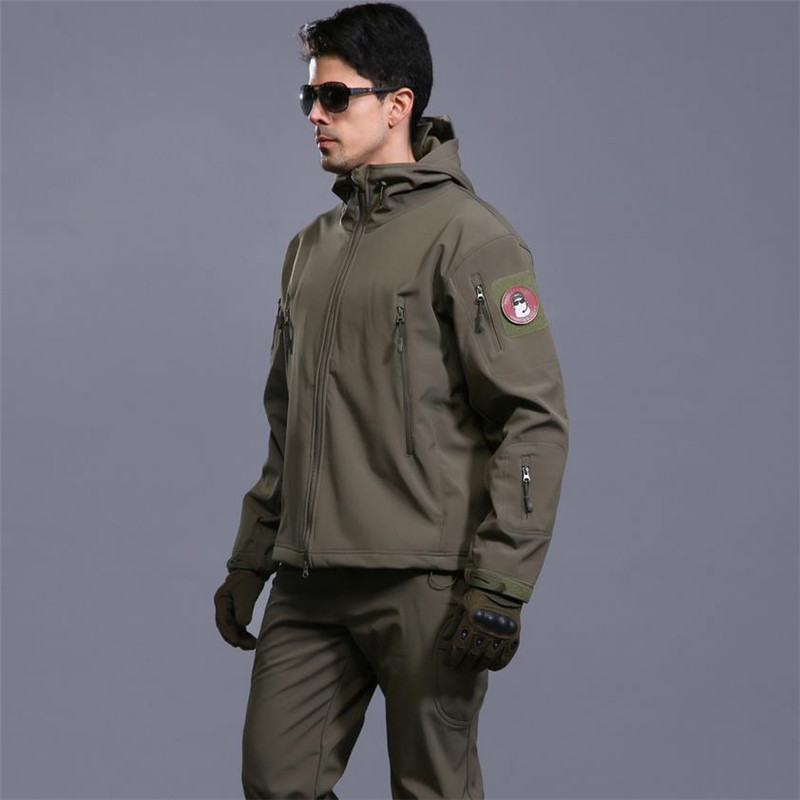 Men Skin Softshell V4 Waterproof Windproof Warm Coat Camouflage Hooded Camo Army Clothing lurker shark skin softshell v4 military tactical jacket sets men women waterproof windproof warm coat pants camouflage clothing