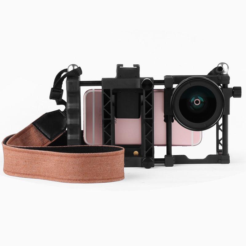 2017 2in1 37mm grand Angle lentille Macro Lentes pour iphone 7 Samsung S7 Huawei Meizu monture avec ceinture poignée ergonomique lentilles de caméra