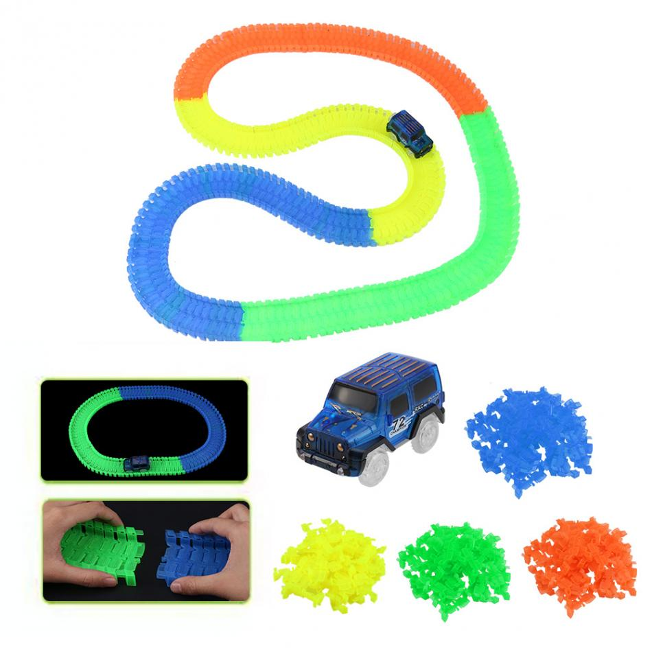 Glowing Race Car Twister DIY Toys For Children LED Flashing Light Assemble Flexible Tracks With LED For Mini Car Kids DIY Toys