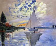 Famous Claude Monet Painting Sailboat at Le Petit-Gennevilliers Ship Painting Landscape Arts on Canvas Wall Pictures(China)