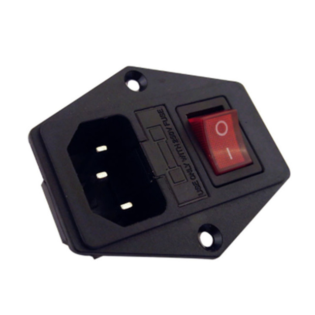 Moc przełącznik kołyskowy IEC 3 Pin 320 C14 wlot gniazda zasilania przełącznik złącze wtykowe 10A 250 V