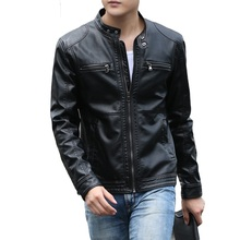 AOWOFS 2019 Motorcycle Leather Jacket Men Casual Biker Slim Fit Faux Leather Jackets