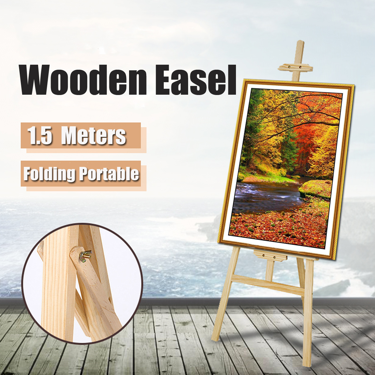 Chevalet en bois d'artiste support de carte de Table de mariage en bois support d'affichage publicitaire pour la décoration de fête 150*57 cm chevalet Triange