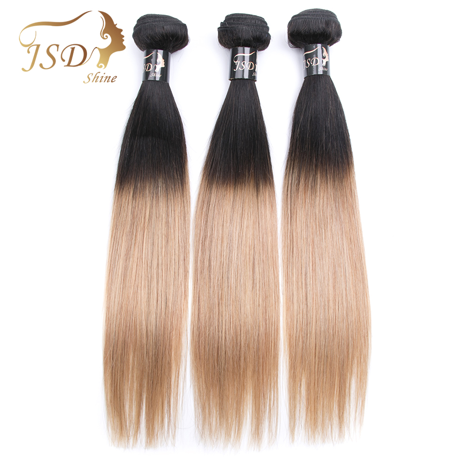 Ombre Brazilian Hair 3 Bundles 2 Tone 1B 27 Brazilian Straight Human Hair Weave JSDShine Pre-Colored Ombre Human Hair Extensions