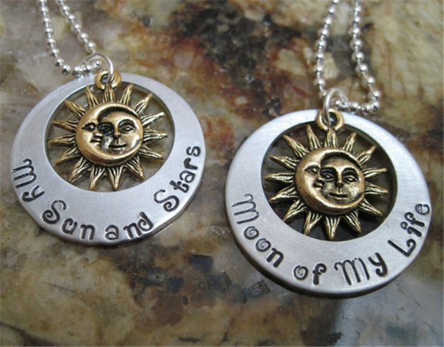 My Sun and Stars and Moon of my Life Two Sided Necklace