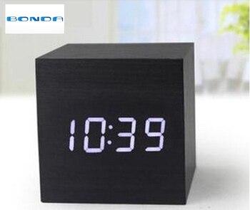 Réveil à LED en bois Cube, affichage de LED de contrôle des sons de température despertador, horloges de table numériques de bureau électroniques, SKU4A4A3
