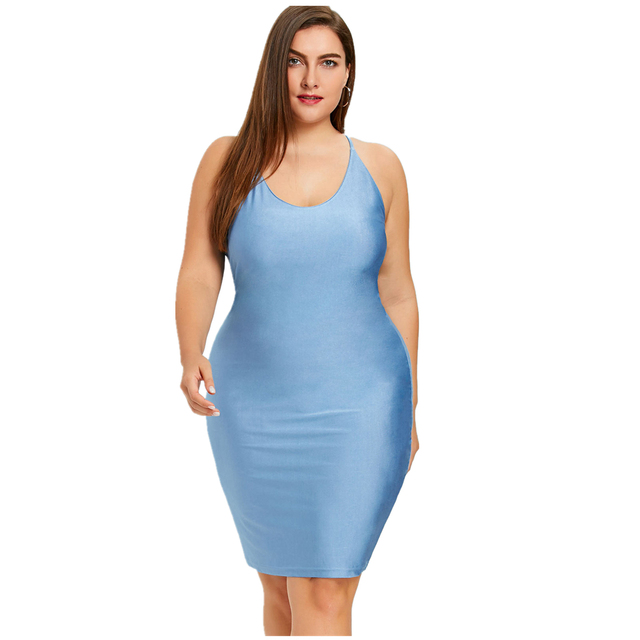 3d3ab91d5f3 Plus Size Women Bodycon Cami Dress Silk Elastic Y Sleeveless Sheath Club  Vestidos Slip Blue