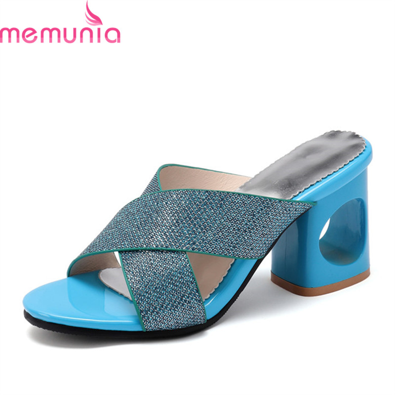 MEMUNIA 2019 wholesale big size 48 women sandals open toe square high heels shoes summer slipper female dress party shoes(China)