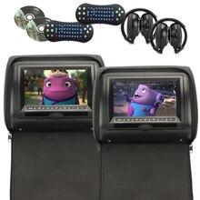 Black 2pcs/lot Universal Digital TFT Screen zipper Car Headrest DVD Player Monitor USB FM Game Disc Remote with 2 X IR Headsets