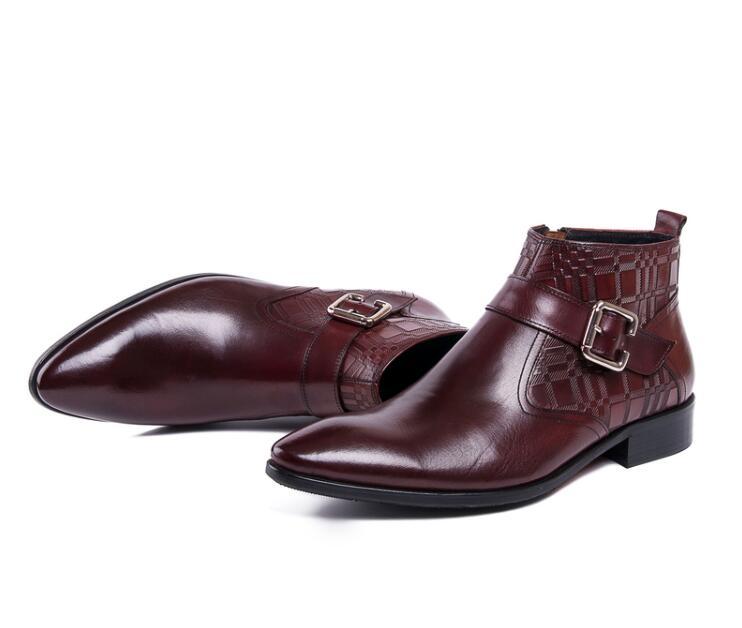 Tela Cuero Formal Punta Pies Alta En Zapatos Botas Hombres Romanas Casuales Escocesa Top Negocios Genuino Los Impreso La Negro rojo Patchwork Hebilla De UXrqnUwZ