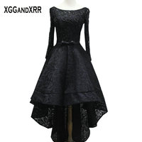 Long Sleeves Black Lace High Low Prom Dresses 2017 Scoop Beaded Sashes Lace Up Back Vestido