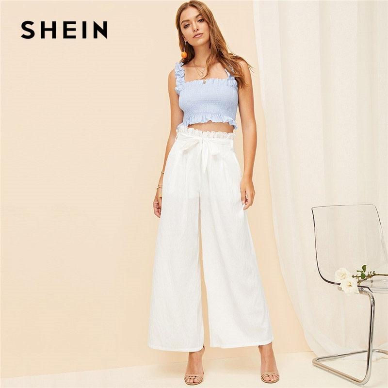 SHEIN White Zipper Fly Eyelet Frilled Waist Flare Hem Pants Solid Women Office Lady Spring Elegant Casual Wide Leg Pants