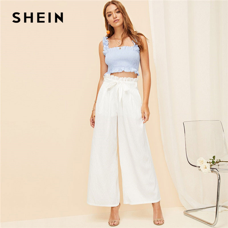 SHEIN White Zipper Fly Eyelet Frilled Waist Flare Hem   Pants   Solid Women Office Lady Spring Elegant Casual   Wide     Leg     Pants