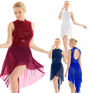 Image 2 - 여자 고삐 민소매 반짝 이는 sequined 높은 낮은 메쉬 체조 레오타드 스케이트 발레 댄스 복장 성인 서정적 인 댄스 의상