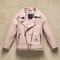 Children Leather Jacket 2017 Autumn Fashion Design Lattice PU Leather Girls Jackets Clothes Kids Outwear For