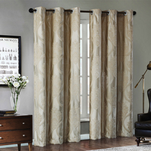Pan Jacquard Window Curtains Heavy Fabric High Quality with Silver Wire Embed 60% Shading for Living room Floral Ivory Color