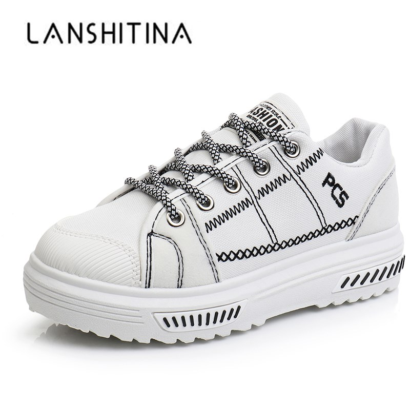 New 2018 Autumn Women Casual Shoes Platform Lace Up Flats Woman Breathable White Sneakers Walking Students Shoes Zapatos Mujer 2018 autumn sneakers women breathable mesh running shoes damping sport shoes woman outdoor blue walking zapatos de mujer betis