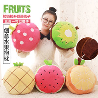 Candice guo! fruit pillow plush toy cushion hand warm blanket strawberry kiwi orange pineapple watermelon birthday gift 1pc