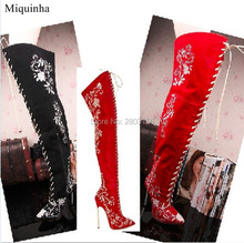 Embroidery Women Pointed Toe Thigh High Boots Lace Up Flower Boots Over The Knee Metal Heel Bota Shoes Women