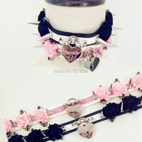 100% Handcrafted Lolita Kawaii Double Row Leather Choker Clear Spikes Spiked Flower Choker Safe heart Lockable Collar Necklace