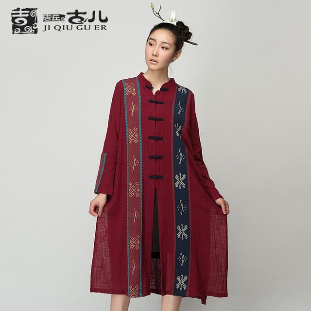 JIQIUGUER Original Algodão Camisas Longas para As Mulheres Do Vintage Luva Cheia Solto Irregular Blusas Casuais Plus Size Tops G153Y008