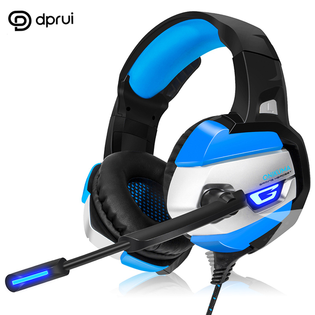 DPRUI New Earphone For PS4 Bass Cuffie Gaming per PC Computer Adapter Need Headset With Microphone LED Lights Gaming Headphones
