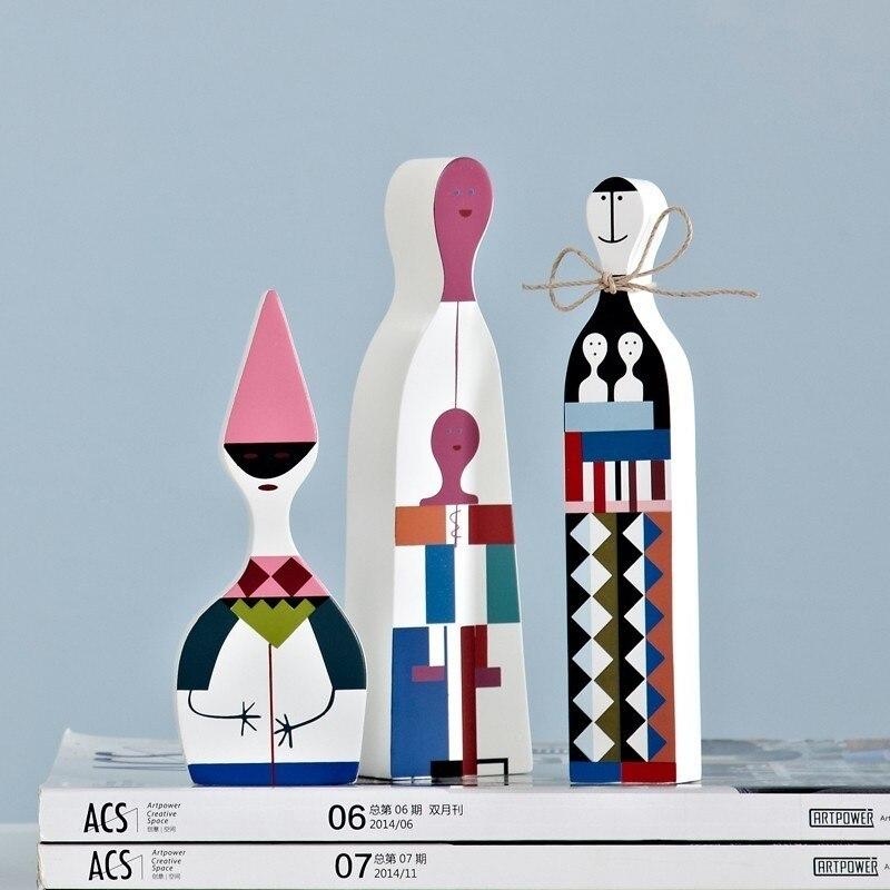 Nouveauté moderne abstraite en bois artisanat décorations Nice enfants cadeau bébé jouets maison décorative Simple Designs Art modèle 3 pièces