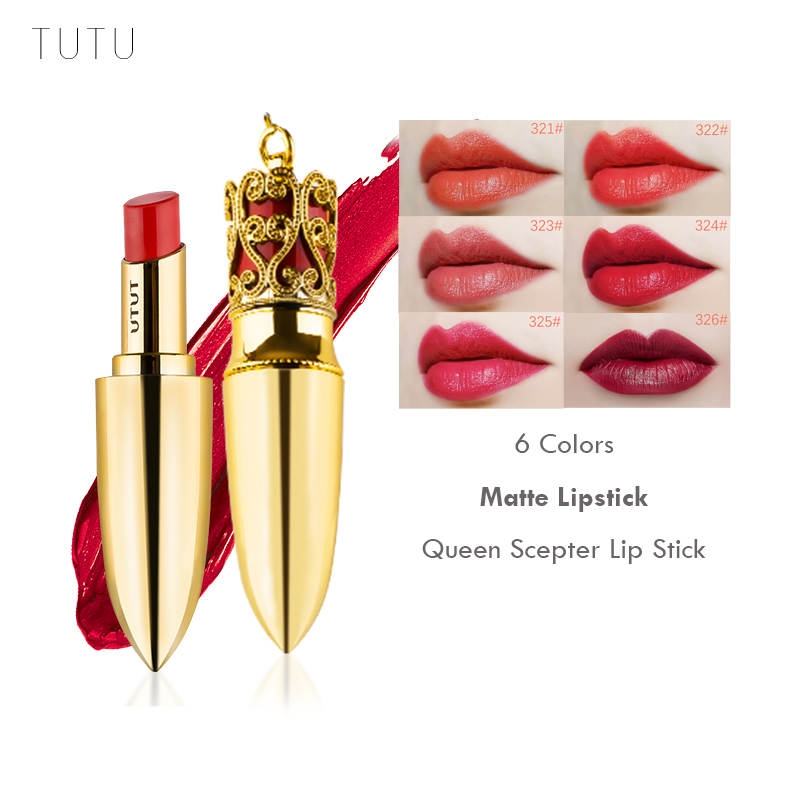 TUTU Brand Makeup Luxury Color Matte Lipstick Waterproof Long-lasting Moisturizer Sexy Lip Stick With Lip Brush 6 Color Red Lips waterproof moisturized 4 color comestic lipstick deep pink red multi color 5 2g