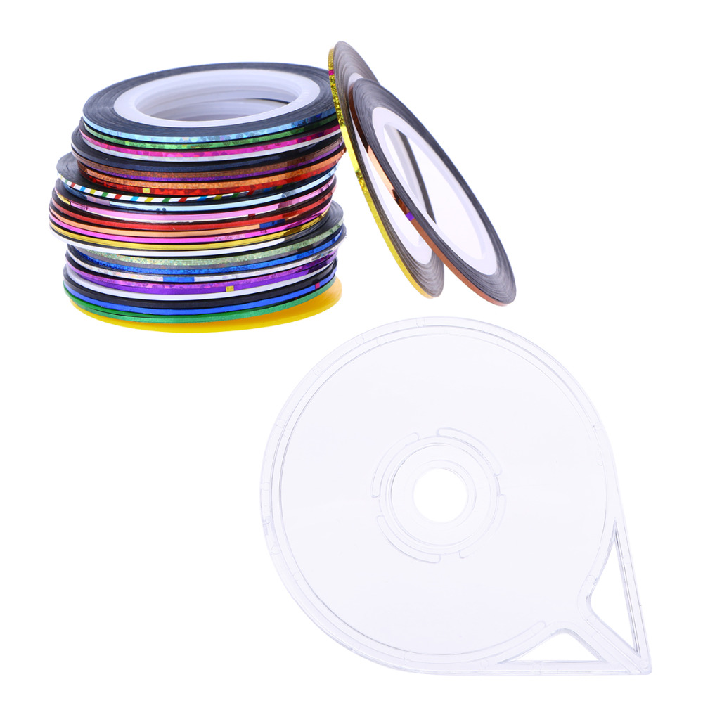 32 cores Seqüência de Linha Fita Da Arte Do Prego Adesivos de Unhas Decoração Dica Striping Tape Dispenser Rolo Auto-adesivo Nail Stickers mulheres