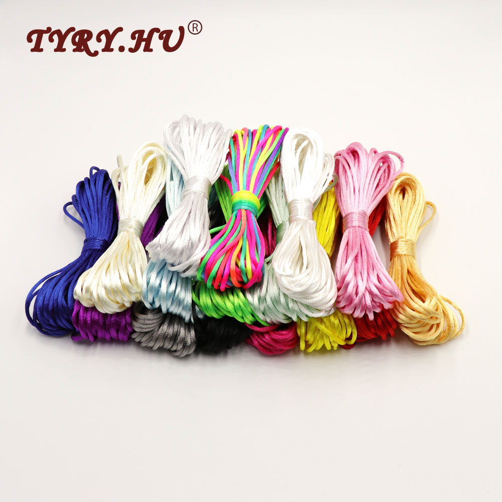 TYRY.HU MultiColor 10meter Satin Nylon Cord Solid Rope For Jewelry Making Beading Cotton Cord For Baby 2mm Braided Silk Cord